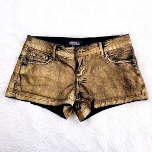 Forever 21 Gold Distressed Premium Denim Shorts